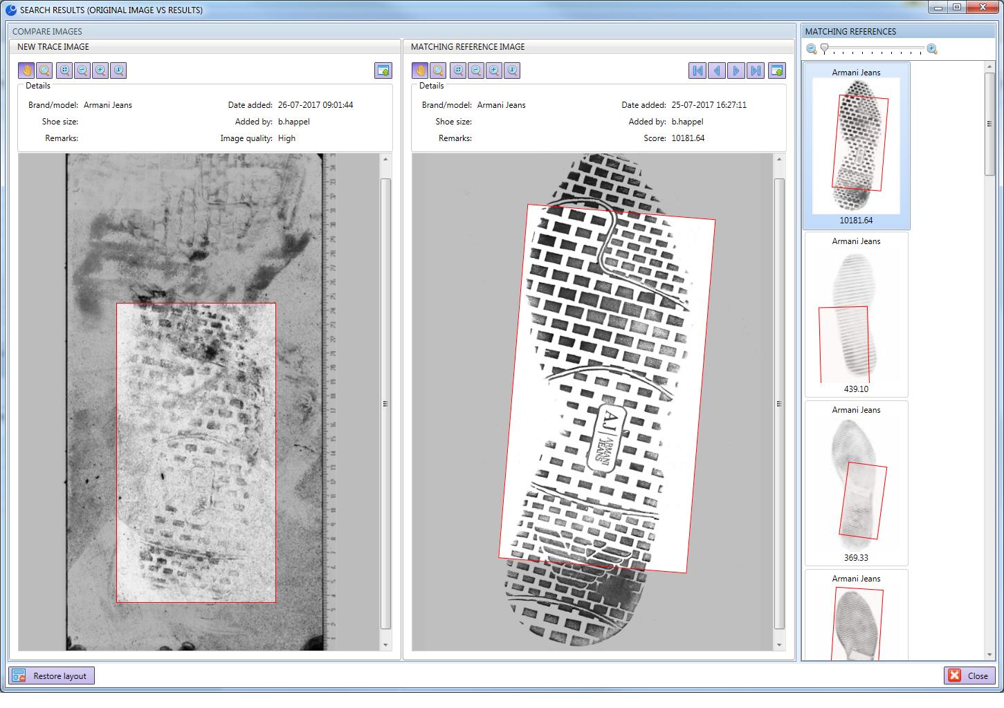 Automated shoeprint matcher